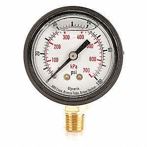 "Pressure Gauge, Liquid Filled Gauge Type, 0 to 100 psi, 0 to 700 kPa Range, 2"" Dial Size"