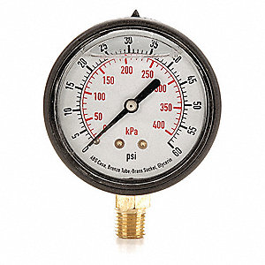 "3-1/2"" General Purpose Pressure Gauge, 0 to 60 psi"