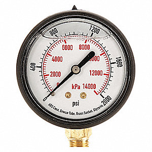 "Pressure Gauge, Liquid Filled Gauge Type, 0 to 2000 psi, 0 to 14,000 kPa Range, 2-1/2"" Dial Size"
