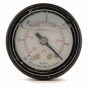 "Pressure Gauge, Liquid Filled Gauge Type, 0 to 200 psi, 0 to 1400 kPa Range, 2-1/2"" Dial Size"