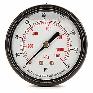 "1-1/2"" Liquid Filled Pressure Gauge, 0 to 160 psi, 0 to 1100 kPa Range"