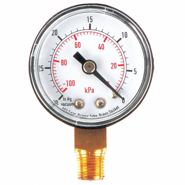Grainger Approved 1 1 2 Quot Test Vacuum Gauge 30 To 0 In Hg