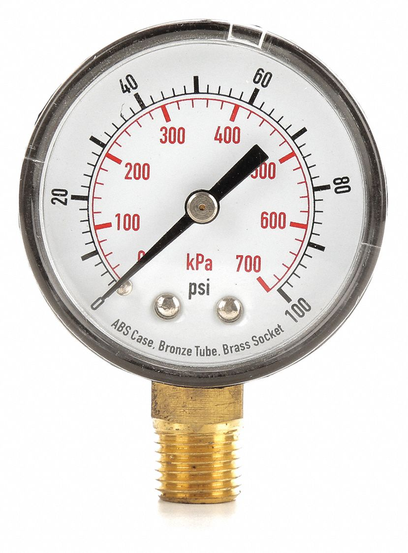 Pressure Gauge,  0 to 100 psi, 0 to 700 kPa Range,  1/4 in NPT,  ±3-2-3% Gauge Accuracy