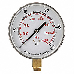 "3-1/2"" Test Pressure Gauge, 0 to 2000 psi"