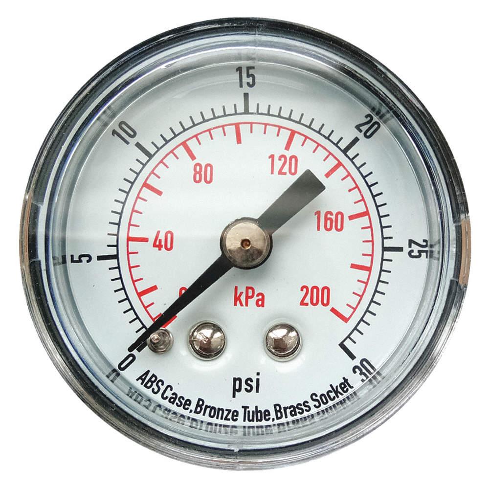 Pressure Gauge,Silver,0 to 30 psi Range MEX3-D50.H17//0133