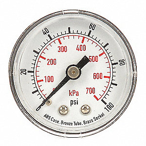 PRESSURE GAUGE,1 1/2 IN,100 PSI,BAC