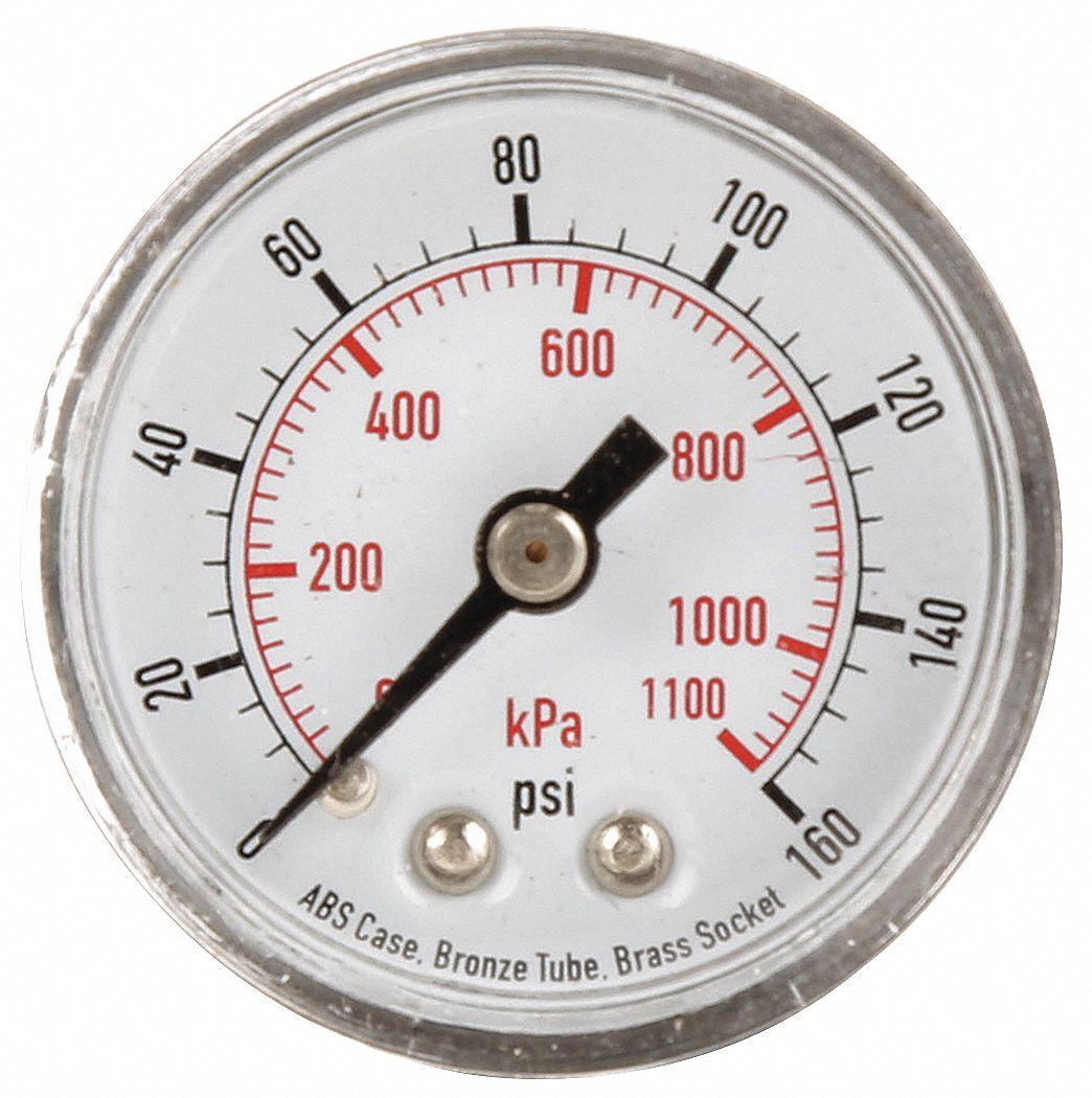 Pressure Gauge,  0 to 160 psi, 0 to 1100 kPa Range,  1/8 in NPT,  ±3-2-3% Gauge Accuracy