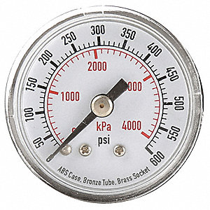 Pressure Gauge,0to600 psi,0to4000 kPa