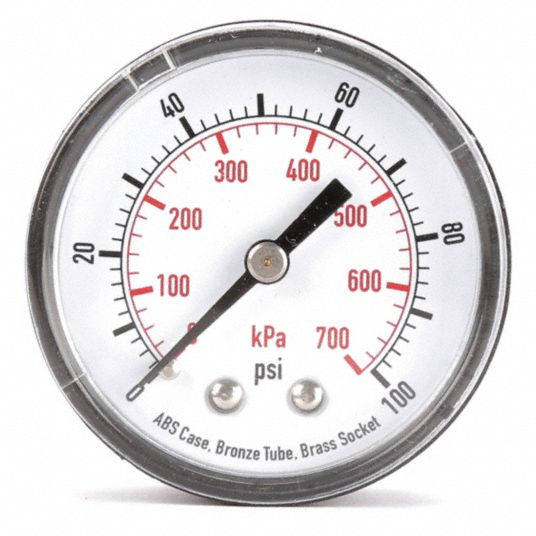 Pressure Gauge,  0 to 100 psi, 0 to 700 kPa Range,  1/4 in NPT,  +/-3-2-3% Gauge Accuracy