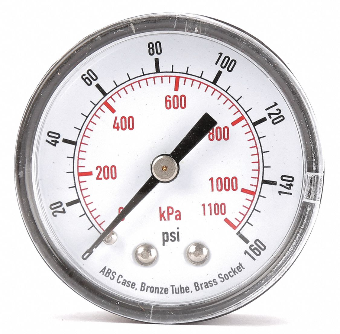 Pressure Gauge,  0 to 160 psi, 0 to 1100 kPa Range,  1/4 in NPT,  ±3-2-3% Gauge Accuracy