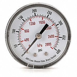 "2"" Test Pressure Gauge, 0 to 400 psi"