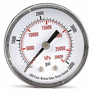 "2"" Test Pressure Gauge, 0 to 4000 psi"