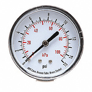 "2-1/2"" Test Pressure Gauge, 0 to 15 psi"