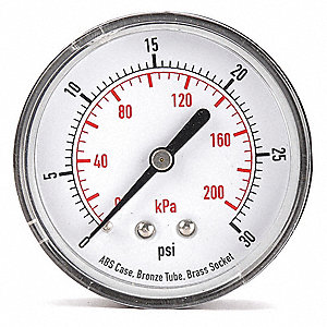 "2-1/2"" Test Pressure Gauge, 0 to 30 psi"