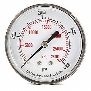 "2-1/2"" Test Pressure Gauge, 0 to 4000 psi"