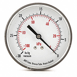 "3-1/2"" Test Vacuum Gauge, -30 to 0 In. Hg"