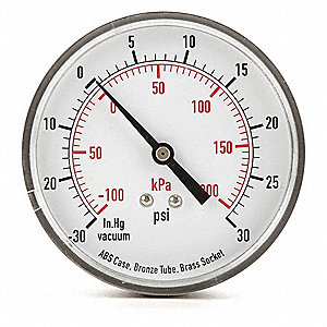 COMPOUND GAUGE,3 1/2 IN,VAC TO 30 P