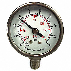 "3-1/2"" Test Pressure Gauge, 0 to 30 psi"