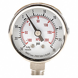 "1-1/2"" Test Compound Gauge, -30 to 0 to 30 In. Hg/psi"