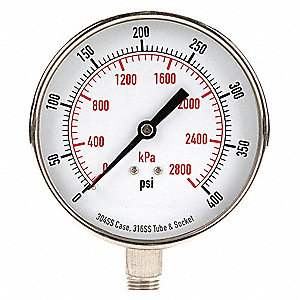 "3-1/2"" Test Pressure Gauge, 0 to 400 psi"