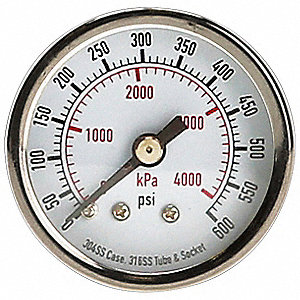 Pressure Gauge,Test,1-1/2 In