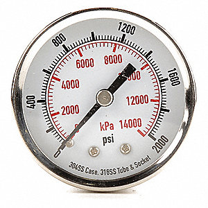 "2"" Test Pressure Gauge, 0 to 2000 psi"