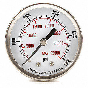 "2"" Test Pressure Gauge, 0 to 5000 psi"