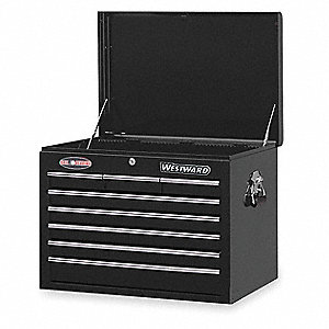 "Black Top Chest, 26"" Width x 17-1/2""  Depth x 19-3/4"" Height, Number of Drawers: 8"