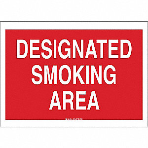 Smoking Area Sign,7 x 10In,WHT/R,AL,ENG