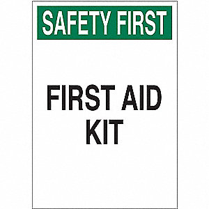 First Aid Sign,10 x 7In,GRN and BK/WHT