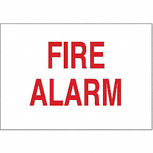 Fire Alarm Sign,10 x 14In,R/WHT,Fire ALM