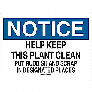 Notice Sign,10 x 14In,BL and BK/WHT,ENG