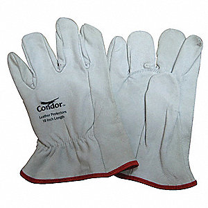 "Electrical Glove Protector, White, Goatskin Leather, 10"" Length"