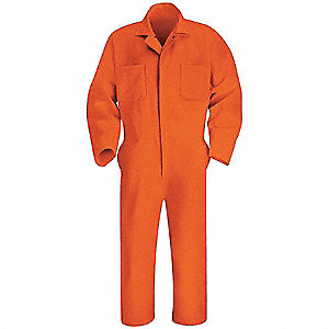 Coverall,Chest 40In.,Orange