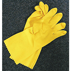"12"" Powder Free Unlined Textured Latex Disposable Gloves, Yellow, Size L, 2PK"
