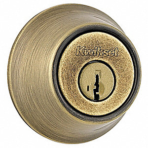 Heavy-Duty Antique Brass QDB2-Series Deadbolt Less Cylinder, Single SFIC-Cylinder, Different