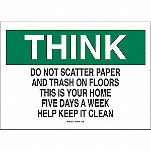 "Cleaning and Maintenance, Think, Polyester, 10"" x 14"", Adhesive Surface, Not Retroreflective"