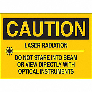 Caution Laser Sign,10 x 14In,BK/YEL,ENG