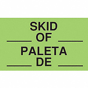 "Bilingual Shipping Labels, Skid___ of ___ /Paleta De, 5"" x 3"", PK 50"