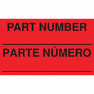 "Bilingual Shipping Labels, Part Number____ /Parte Numero, 5"" x 3"", PK 500"