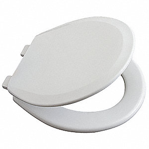 "Toilet Seat, Round, With Cover, 16-1/4"" Bolt to Seat Front"