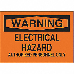 "Electrical Hazard, Warning, Aluminum, 10"" x 14"", With Mounting Holes, Not Retroreflective"