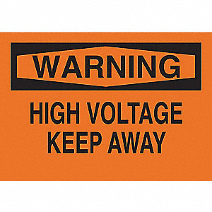 "Electrical Hazard, Warning, Fiberglass, 10"" x 14"", With Mounting Holes, Not Retroreflective"