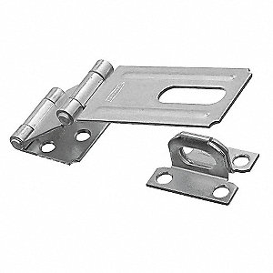 "Safety Fixed Staple Hasp, 3-1/4"" Length, Steel, Zinc Plated Finish"