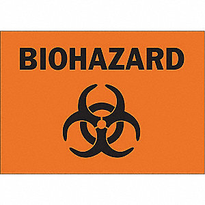 Biohazard Sign,7 x 10In,BK/ORN,AL,SYM