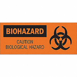 Caution Biohazard Sign,7 x 17In,BK/ORN