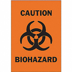 Caution Biohazard Sign,5 x 3-1/2In,SURF