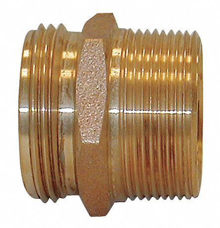 Fire Hose Adapter,  Hex,  Fitting Material Brass x Brass,  Fitting Size 1 in x 1 in