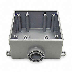 Weatherproof Electrical Box, 2-Gang, 1-Inlet, PVC