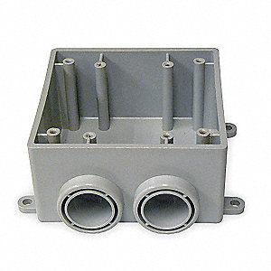 Weatherproof Electrical Box, 2-Gang, 2-Inlet, PVC